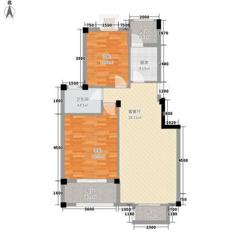 新澳蓝草坪2室1厅1卫1厨85.00㎡户型图