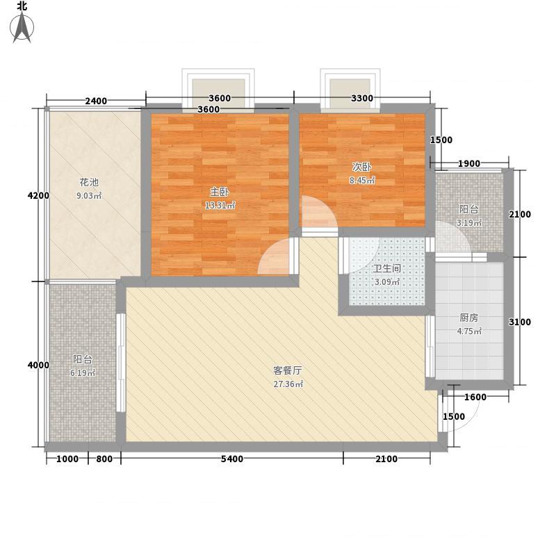 �亭合院78.70㎡j型户型2室2厅1卫1厨