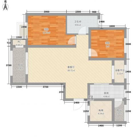 昆河壹号2室1厅1卫1厨109.00㎡户型图