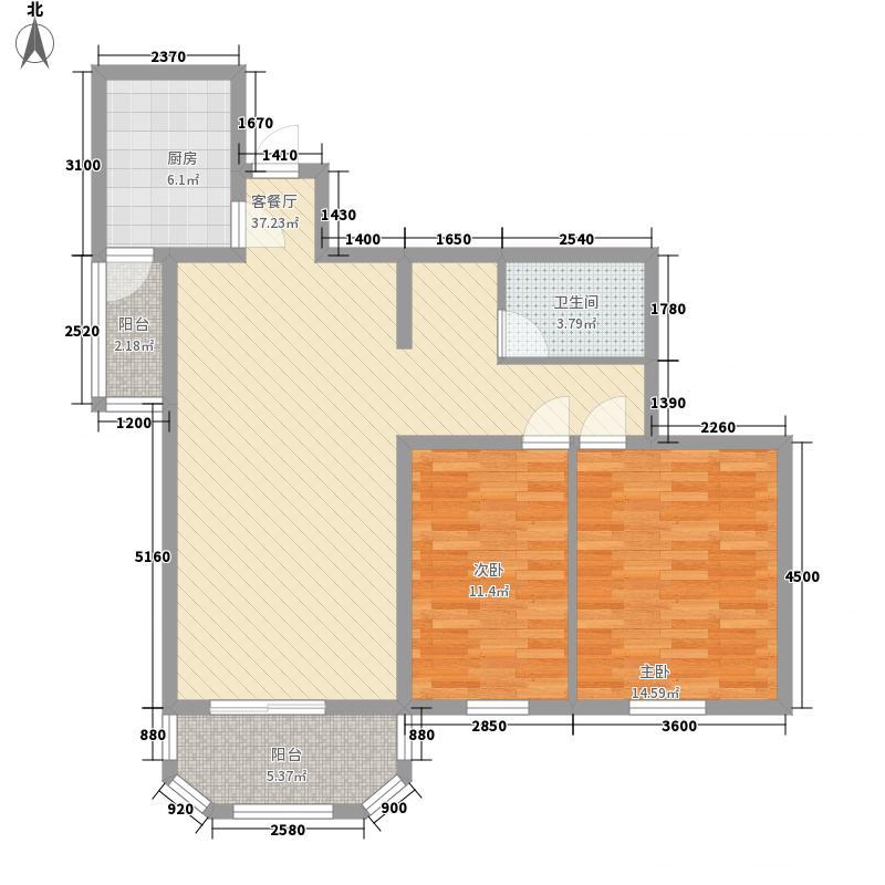 亚奥人家114.69㎡D户型2室1厅1卫1厨