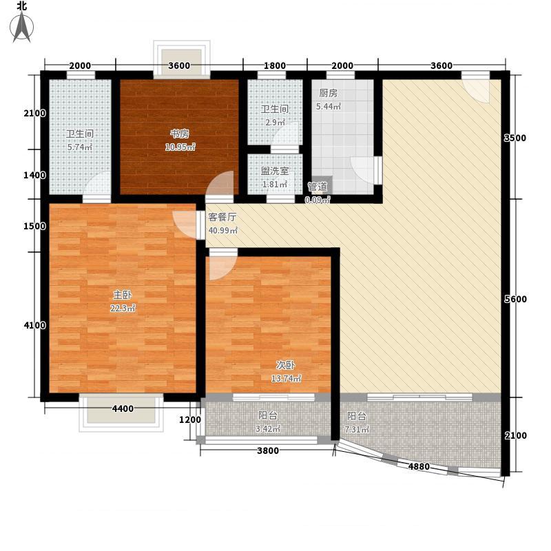 北晶德福苑151.20㎡G4户型3室2厅2卫1厨