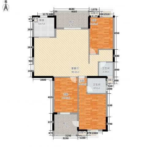 国信秦淮绿洲3室1厅2卫1厨181.00㎡户型图