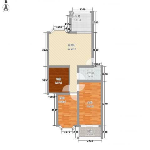 舜清苑3室1厅1卫1厨88.00㎡户型图