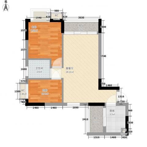 天伦东时区2室1厅1卫1厨65.00㎡户型图