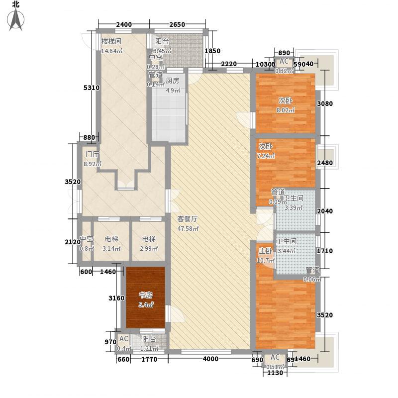 紫金长安184.78㎡一期A户型4室2厅2卫1厨