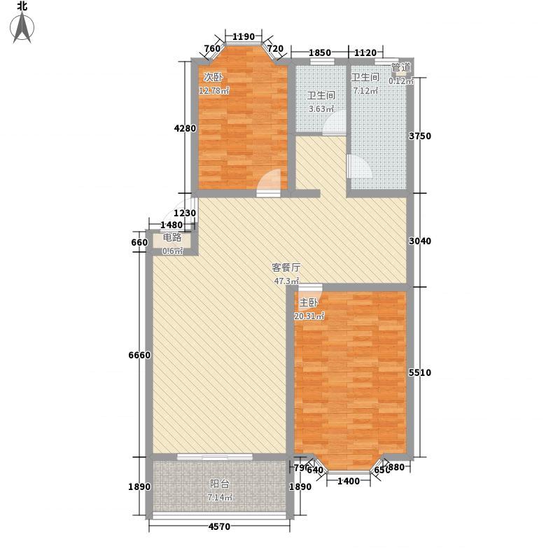 锦绣苑17.10㎡E户型2室2厅1卫1厨