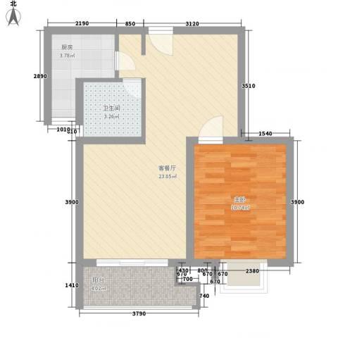 黄浦众鑫城1室1厅1卫1厨64.00㎡户型图