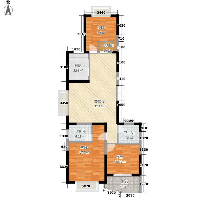 海洲国际华园130.45㎡A1户型3室2厅2卫1厨