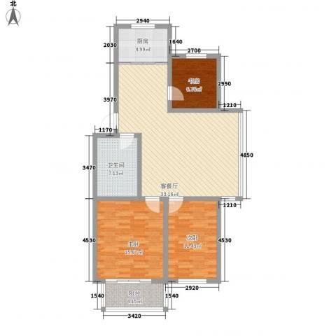 环翠家园3室1厅1卫1厨83.36㎡户型图