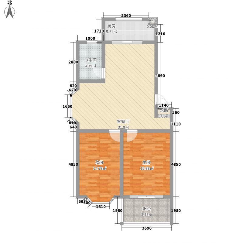 锦绣苑11.88㎡J户型2室2厅1卫1厨
