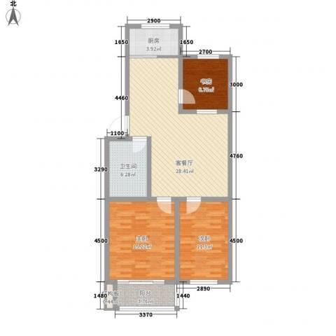 环翠家园3室1厅1卫1厨76.12㎡户型图