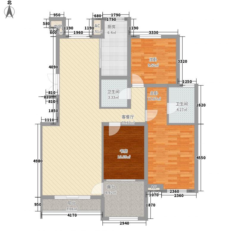 艾依公馆142.45㎡C户型3室2厅2卫1厨