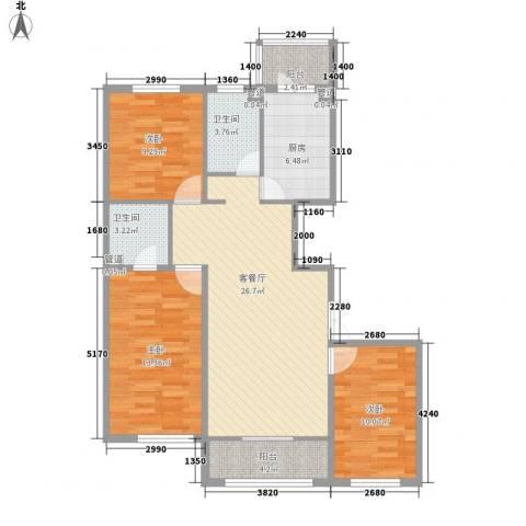 香悦蓝天下3室1厅2卫1厨139.00㎡户型图