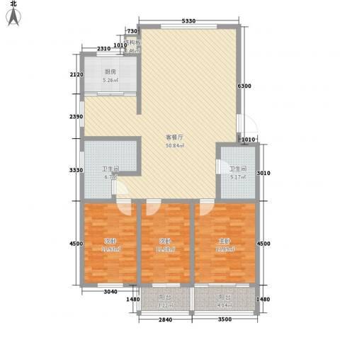 环翠家园3室1厅2卫1厨142.00㎡户型图