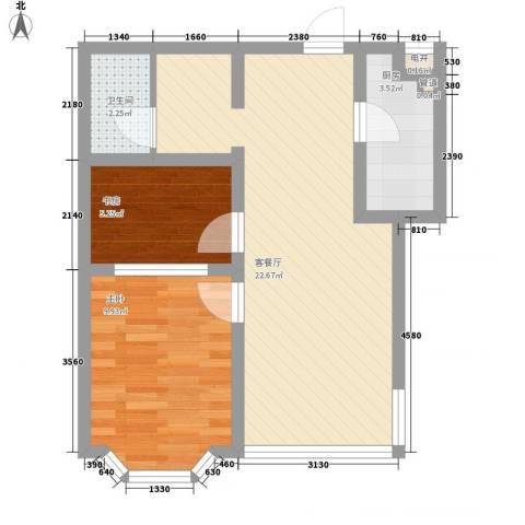 舜清苑2室1厅1卫1厨64.00㎡户型图