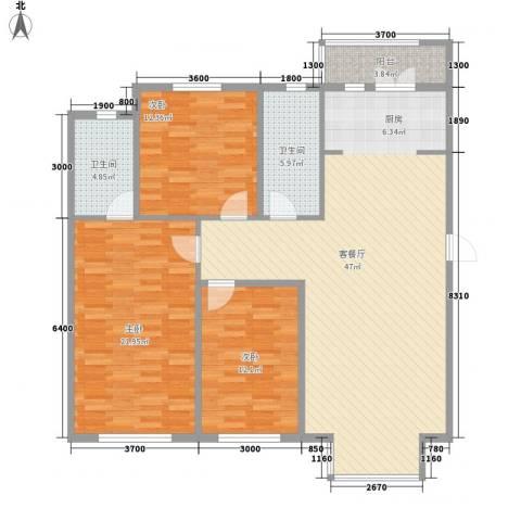 翰逸华园二期3室1厅2卫0厨136.00㎡户型图