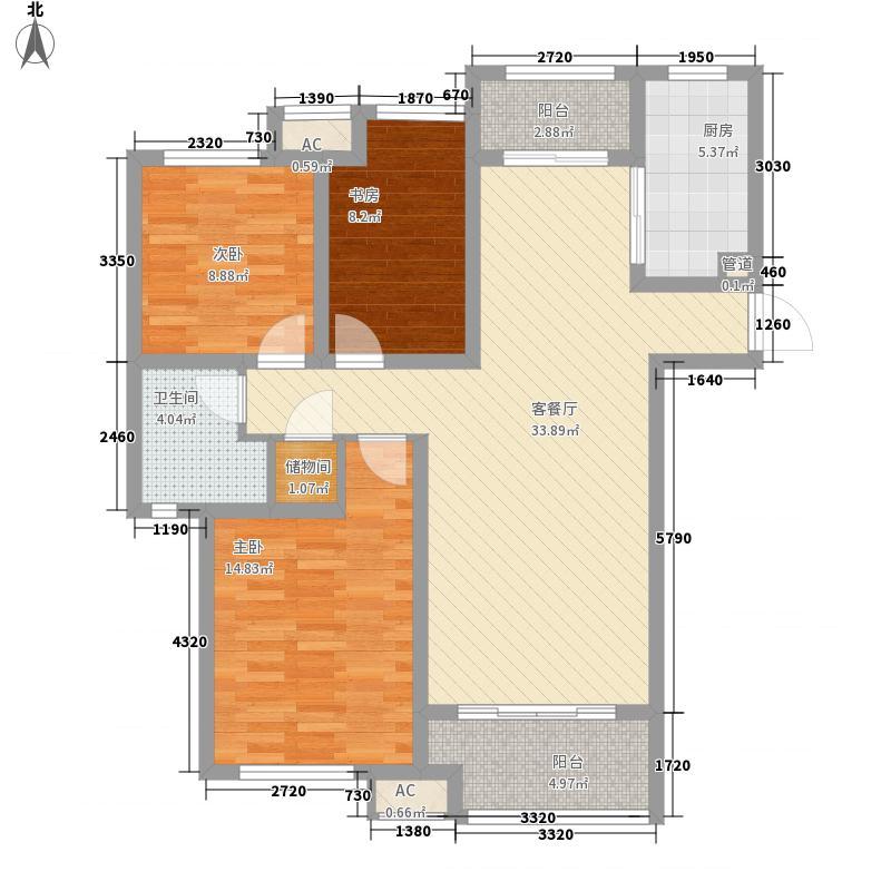 豪森国际广场125.23㎡高层D户型3室2厅2卫1厨