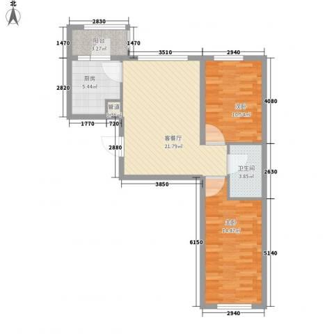 亿达帝景2室1厅1卫1厨85.00㎡户型图