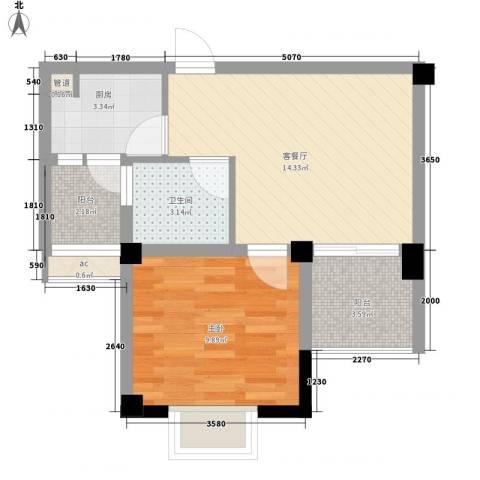 华腾北塘1室1厅1卫1厨55.00㎡户型图