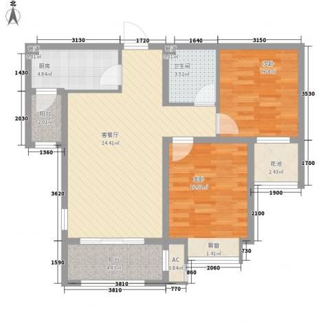 昆河壹号2室1厅1卫1厨80.00㎡户型图