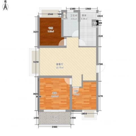东方御水湾3室1厅1卫1厨89.00㎡户型图