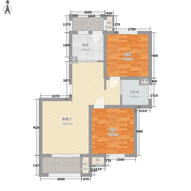 华亭新苑88.00㎡华亭新苑户型图二期莱顿堡公寓户型图2室2厅1卫1厨户型2室2厅1卫1厨