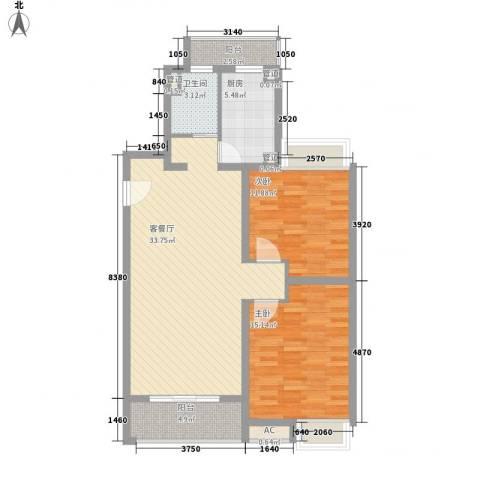 和源祥邸珑庭2室1厅1卫1厨89.00㎡户型图