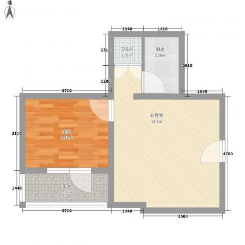 富华家园1室0厅1卫1厨58.00㎡户型图