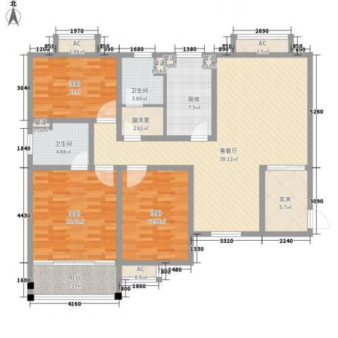 彩云郡3室1厅2卫1厨125.00㎡户型图