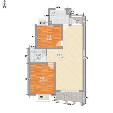 大华阳城四期阳城美景2室1厅1卫1厨99.00㎡户型图