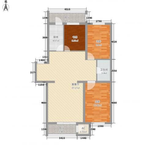 后林新村3室1厅1卫1厨114.00㎡户型图