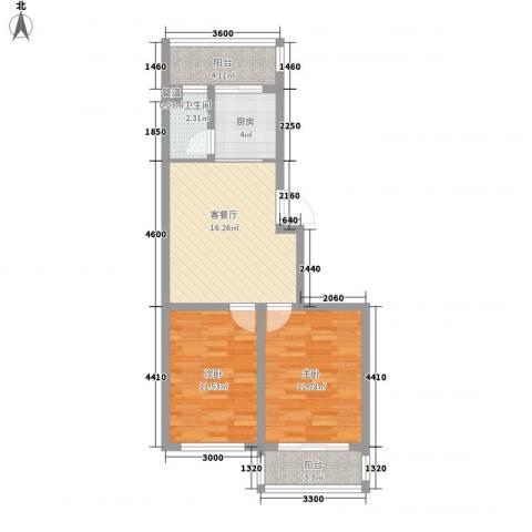 后林新村2室1厅1卫1厨78.00㎡户型图