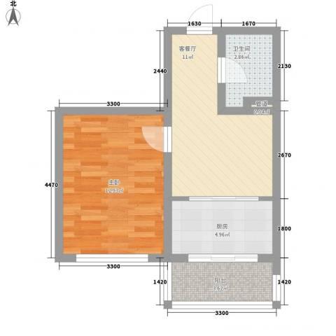 后林新村1室1厅1卫1厨49.00㎡户型图