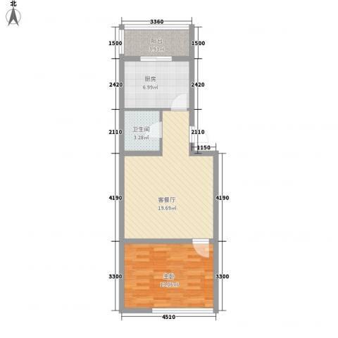 后林新村1室1厅1卫1厨63.00㎡户型图