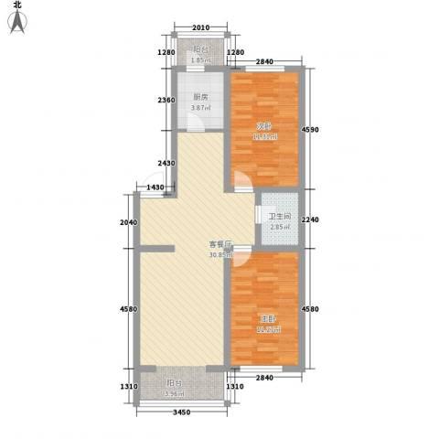 龙盛家园2室1厅1卫1厨91.00㎡户型图