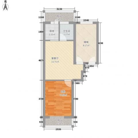 龙盛家园1室1厅1卫1厨59.00㎡户型图