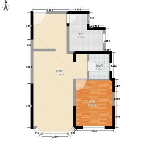 绿洲紫荆花园1室1厅1卫1厨90.00㎡户型图