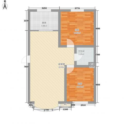 东北明珠2室0厅1卫1厨64.00㎡户型图