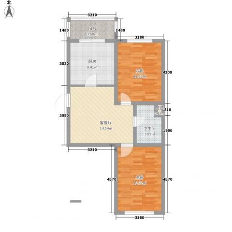 龙盛家园2室1厅1卫1厨82.00㎡户型图