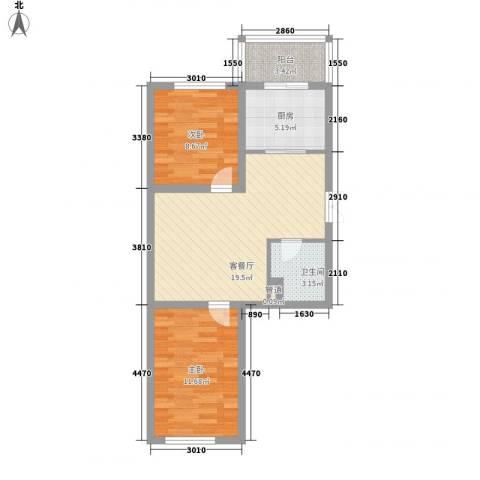 龙盛家园2室1厅1卫1厨76.00㎡户型图