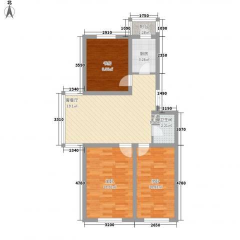 龙盛家园3室1厅1卫1厨87.00㎡户型图