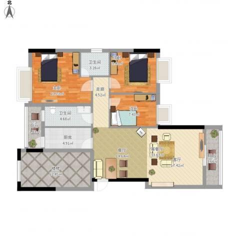 钜隆罗村风度花园3室1厅2卫1厨136.00㎡户型图