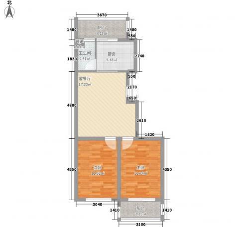 后林新村2室1厅1卫1厨80.00㎡户型图