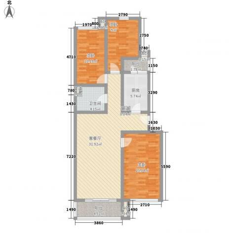 龙跃苑四区3室1厅1卫1厨124.00㎡户型图