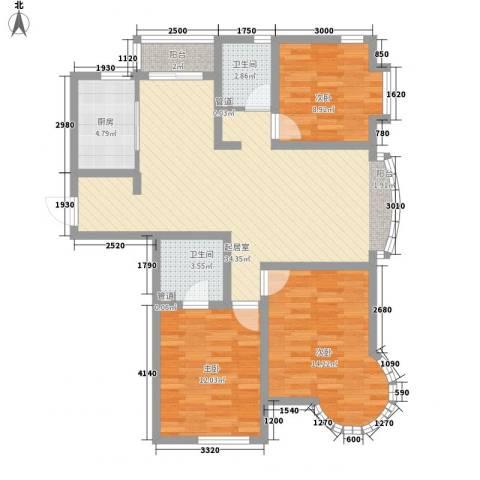 东北明珠3室0厅2卫1厨125.00㎡户型图