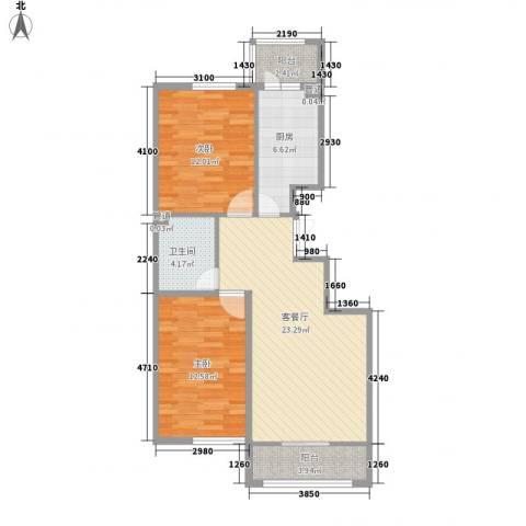 香悦蓝天下2室1厅1卫1厨104.00㎡户型图