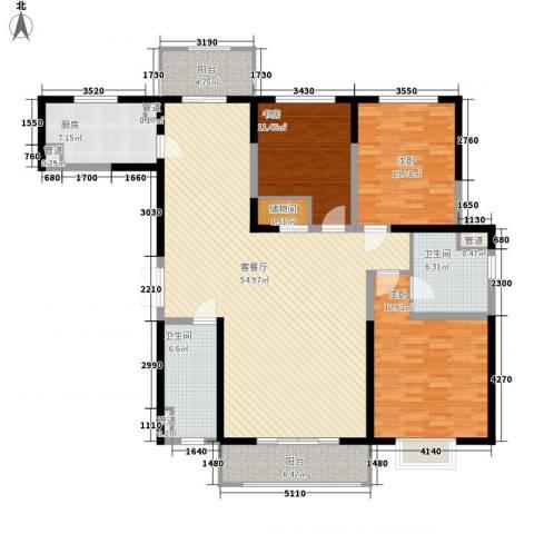 蓝色剑桥元庭3室1厅2卫1厨186.00㎡户型图