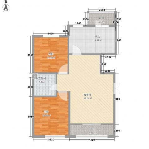 香悦蓝天下2室1厅1卫1厨120.00㎡户型图