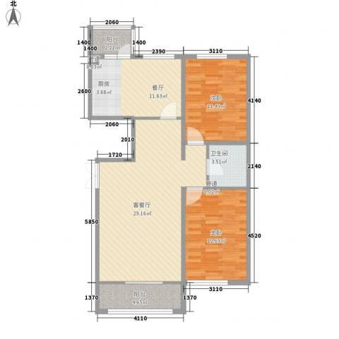 香悦蓝天下2室2厅1卫0厨124.00㎡户型图
