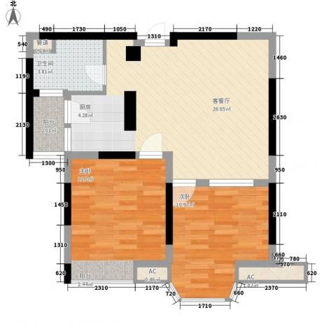 佘山假日半岛公寓2室1厅1卫0厨83.00㎡户型图